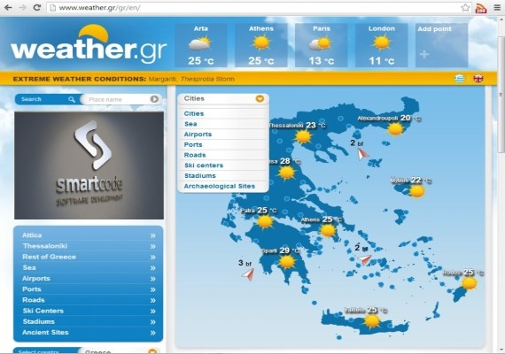 Smartcode has exclusively developed the <a href='http://www.weather.gr' target='_blank'> www.weather.gr</a>, <a href='http://www.meteo.com.cy' target='_blank'> www.meteo.com.cy </a>, <a href='http://www.meteo.al' target='_blank'> www.meteo.al</a> web sites and upkeep the core weather forecasting model platform.
